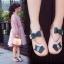 รองเท้าคัทชูส้นแบน แต่งเหมียวกับโบว์ที่สายรัด #แถบเมจิปเทป สีชมพู thumbnail 1