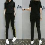 ชุดเซท2ชิ้น เสื้อ+กางเกงขายาว เอวสม็อค