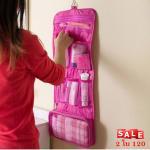 สีชมพูเข้ม*แบบพับ3ทบกระเป๋าแขวนใส่ของใช้อาบน้ำและเครื่องสำอาง