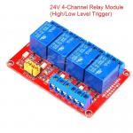 24V 4 Channel Relay High/Low Level Trigger Relay Module (Red PCB)