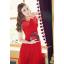 ชุดเดรสยาว เดรสราตรียาว ผ้าชีฟองชนิดเนื้อเงา (elegant chiffon dress) สีแดง ซีทรูช่วงไหล่ เย็บย่นจับจีบช่วงหน้าอก thumbnail 1