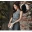 จั๊มสูทสุดสวยๆ ตัวเสื้อผ้าลูกไม้ถักเป็นลายดอกไม้ และใบไม้สีน้ำเงินอมเทา แขนกุด thumbnail 2