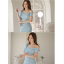 ชุดเดรสออกงาน ผ้าโพลีเอสเตอร์สีฟ้า เปิดไหล่ด้านซ้าย ไหล่ด้านขวาแต่งด้วยผ้าระบาย thumbnail 12