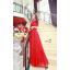 ชุดเดรสยาว เดรสราตรียาว ผ้าชีฟองชนิดเนื้อเงา (elegant chiffon dress) สีแดง ซีทรูช่วงไหล่ เย็บย่นจับจีบช่วงหน้าอก thumbnail 3