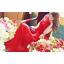 ชุดเดรสยาว เดรสราตรียาว ผ้าชีฟองชนิดเนื้อเงา (elegant chiffon dress) สีแดง ซีทรูช่วงไหล่ เย็บย่นจับจีบช่วงหน้าอก thumbnail 2