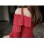ชุดเดรสสีแดง ผ้าโพลีเอสเตอร์ผสม สายเดี่ยวที่ไหล่ด้านซ้าย ช่วงอกและต้นแขนอัดพลีต ทรงตรง thumbnail 7