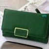 พร้อมส่ง รหัส FN-001 สีเขียวเข้ม กระเป๋าสตางค์ Forever young ไซร์กลาง 3 พับ แต่งอะไหล่เหลี่ยม Original