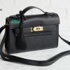 พร้อมส่ง DB-497 สีดำ กระเป๋าแฟชั่นหนัง PU สไตล์ HM-Kelly-Miini ไซร์ 8.5 นิ้ว *มีถุงผ้า/ไม่ปั๊มแบรนด์