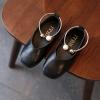 รองเท้าเด็กคัทชูpuหนังนิ่ม แต่งด้วยกำไลรัดข้อเท้าประดับมุก # สีดำ
