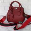 พร้อมส่ง DB-2921A-2 สีแดง กระเป๋าแฟชั่นสไตล์ HM toolbox-20 พร้อมห้อยเกือกม้า และสายผ้าสปอร์ต