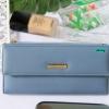 พร้อมส่ง รหัส L355-15 สีฟ้า กระเป๋าสตางค์ยาว Forever-young แท้ แต่งป้ายแบรนด์โลหะฉลุ