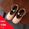 รองเท้าคัทชู puหนังนิ่ม แต่งด้วยกำไลรัดข้อเท้าประดับมุก สีชมพู