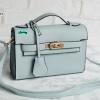 พร้อมส่ง DB-497 สีฟ้ากระเป๋าแฟชั่นหนัง PU สไตล์ HM-Kelly-Miini ไซร์ 8.5 นิ้ว *มีถุงผ้า/ไม่ปั๊มแบรนด์