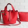 พร้อมส่ง DB-2925 สีแดงสด กระเป๋าแฟชั่นนำเข้าสไตล์ HM- Picotin ไซร์ 9 นิ้ว เย็บเนี๊ยบทุกจุด มีถุงผ้า ไม่ปั๊มแบรนด์