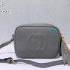 พร้อมส่ง HB-5667 สีเทาเข้ม กระเป๋าสะพายหนัง PU นิ่ม แต่งพู่ห้อย ปั๊มโลโก้นูน GG square bag