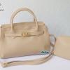 พร้อมส่ง HB-6016 สีครีม กระเป๋าแฟชั่นBirkin design พร้อมใบเล็ก ซับในหนังกลับอย่างดี