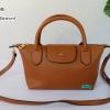 พร้อมส่ง DB-3008 สีน้ำตาล กระเป๋าแฟสะพาย inspired by Longchamp หนัง PU นิ่ม แต่งอะไหล่หนา มีถุงผ้า