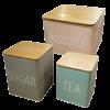Tin Storage w/ Bamboo Wood Lid (Set of 3)