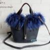 พร้อมส่ง FDB-2947-1 สีน้ำเงินเข้ม กระเป๋าแฟชั่นสไตล์ HM-Picotin-Fer เย็บเนี๊ยบทุกจุด
