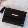 พร้อมส่ง รหัส L355-10 สีดำ กระเป๋าสตางค์ Forever young 2 พับสั้นแต่งป้ายโลโก้สีทอง