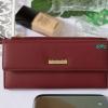 พร้อมส่ง รหัส L355-15 สีไวน์แดง กระเป๋าสตางค์ยาว Forever-young แท้ แต่งป้ายแบรนด์โลหะฉลุ