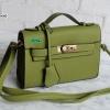 พร้อมส่ง DB-497 สีเขียว กระเป๋าแฟชั่นหนัง PU สไตล์ HM-Kelly-Miini ไซร์ 8.5 นิ้ว *มีถุงผ้า/ไม่ปั๊มแบรนด์