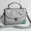 พร้อมส่ง HB-4247 สีเทาเข้ม กระเป๋านำเข้าแฟชั่นเกาหลีแต่งอะไหล่ Cosme-Fun