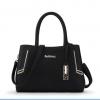 พร้อมส่ง ขายส่งกระเป๋าผู้หญิงถือและสะพายข้าง วัยทำงาน เรียบหรู แต่งสาย Tag ห้อย แฟชั่นยุโรป Sunny-Z005 สีดำ ใบ