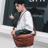 พร้อมส่ง กระเป๋าผู้ชายคาดอกคาดไหล่ คาดหลัง สะพายลำรอง แฟชั่นเกาหลี กระเป๋าทรงครึ่งแตงโม รหัส Man-9943 สีน้ำตาล 1 ใบ