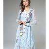 ชุดเดรสสวยๆ ผ้าลูกไม้ลายใบไม้ เนื้อดีสีฟ้า แขนยาว ตัวเสื้อปักลายดอกไม้