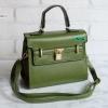 พร้อมส่ง HB-4245 สีเขียว กระเป๋าสะพายถือและสะพายข้างนำเข้า แต่งอะไหล่แม่กุญแจ