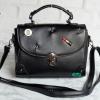พร้อมส่ง HB-4247 สีดำ กระเป๋านำเข้าแฟชั่นเกาหลีแต่งอะไหล่ Cosme-Fun