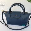 พร้อมส่ง DB-3008 สีน้ำเงิน กระเป๋าแฟสะพาย inspired by Longchamp หนัง PU นิ่ม แต่งอะไหล่หนา มีถุงผ้า