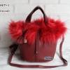 พร้อมส่ง FDB-2947-1 สีแดงเข้ม กระเป๋าแฟชั่นสไตล์ HM-Picotin-Fer เย็บเนี๊ยบทุกจุด