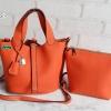 พร้อมส่ง DB-2925 สีส้ม กระเป๋าแฟชั่นนำเข้าสไตล์ HM- Picotin ไซร์ 9 นิ้ว เย็บเนี๊ยบทุกจุด มีถุงผ้า ไม่ปั๊มแบรนด์