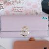 พร้อมส่ง รหัส T5110-001 สีม่วง กระเป๋าสตางค์ยาวหนังลิ้นจี่เงาสวยแต่งกระดุมกลมพร้อมกล่องลายดอกไม้หรู