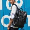 พร้อมส่ง กระเป๋าเป้สะพายหลัง เป้นักเรียนผู้ชาย เป้สายรูดปิด เป้เดินทาง เป้ใบใหญ่แฟชั่นเกาหลี รหัส Man-7702 สีดำ 2 ใบ