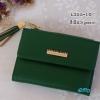 พร้อมส่ง รหัส L355-10 สีเขียวเข้ม กระเป๋าสตางค์ Forever young 2 พับสั้นแต่งป้ายโลโก้สีทอง