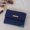 พร้อมส่ง รหัส L355-10 สีน้ำเงิน กระเป๋าสตางค์ Forever young 2 พับสั้นแต่งป้ายโลโก้สีทอง