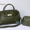 พร้อมส่ง HB-6016 สีเขียวมะกอก กระเป๋าแฟชั่นBirkin design พร้อมใบเล็ก ซับในหนังกลับอย่างดี