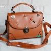 พร้อมส่ง HB-4247 สีน้ำตาล กระเป๋านำเข้าแฟชั่นเกาหลีแต่งอะไหล่ Cosme-Fun