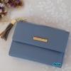 พร้อมส่ง รหัส L355-10 สีฟ้า กระเป๋าสตางค์ Forever young 2 พับสั้นแต่งป้ายโลโก้สีทอง