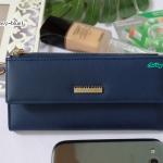 พร้อมส่ง รหัส L355-15 สีน้ำเงิน กระเป๋าสตางค์ยาว Forever-young แท้ แต่งป้ายแบรนด์โลหะฉลุ