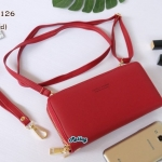 พร้อมส่ง รหัส NW-0126 สีแดง กระเป๋าสตางค์ยาวพร้อมสายสะพายหนัง 2 ซิป Forever Young series