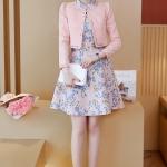 ชุดเดรสแฟชั่น set เสื้อสูท และเดรสโทนสีชมพู สวยหวานน่ารักมากๆ
