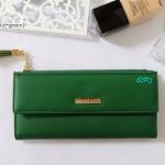 พร้อมส่ง รหัส L355-15 สีเขียวเข้ม กระเป๋าสตางค์ยาว Forever-young แท้ แต่งป้ายแบรนด์โลหะฉลุ