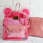 พร้อมส่ง HB-5353-สีชมพู กระเป๋าเป้พลาสติกใส-Mickey-design-พร้อมใบเล็กด้านใน