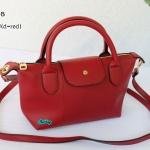 พร้อมส่ง DB-3008 สีแดงเข้ม กระเป๋าแฟสะพาย inspired by Longchamp หนัง PU นิ่ม แต่งอะไหล่หนา มีถุงผ้า