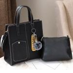 Pre-order กระเป๋าถือและสะพายข้าง ผู้หญิง แฟชั่นเกาหลี รหัส Yi-0201 สีดำ *แถมป๋อมหมี