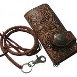 Very Good Genuine Cowhide Leather Long Wallet (vintage) Classic Wallet For You กระเป๋าสตางค์เเเบบคลาสสิก วินเทจ ในสใตล์ คาวบอยหรืแคาวเกิว์ล